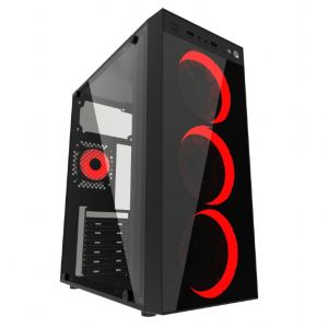 Gaming Case Gembird Fornax 1500B, Red led fans